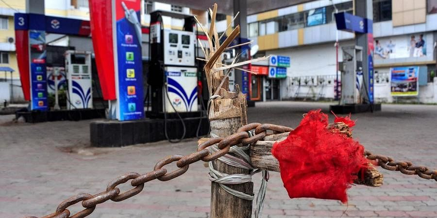 A closed petrol pump during lockdown in India. (Photo| PTI)