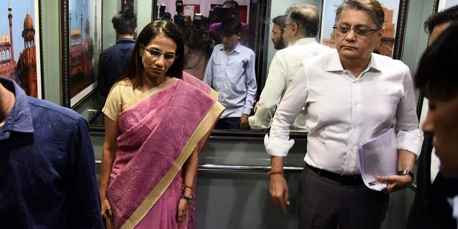 Former ICICI Bank CEO Chanda Kochhar and her husband Deepak Kochhar arrive to appear before ED in connection with a money laundering case probe.