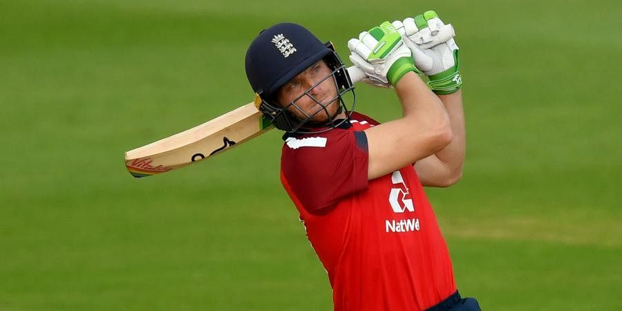 England batsmanJos Buttler hits a six to win the second T20 match againstAustralia, at the Ageas Bowl in Southampton.