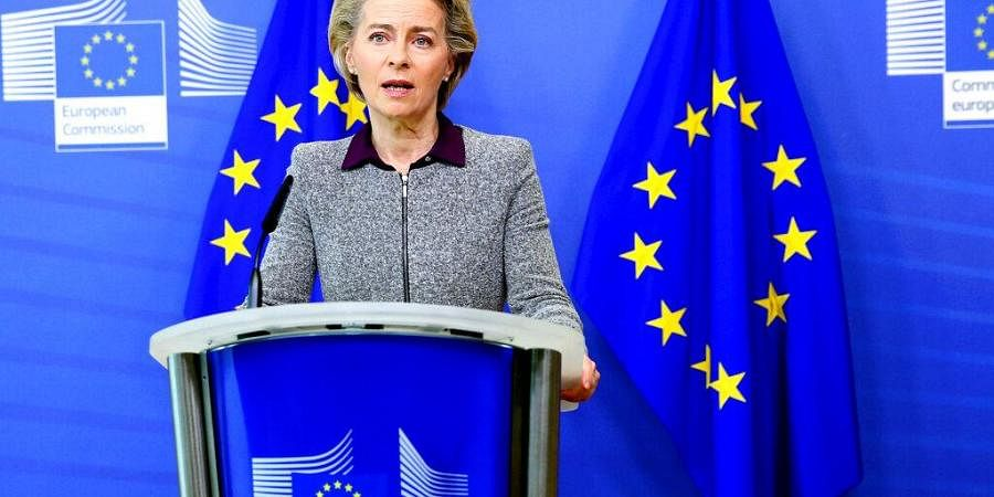 President of the European Commission Ursula von der Leyen speaks during a media conference at EU headquarters in Brussels.