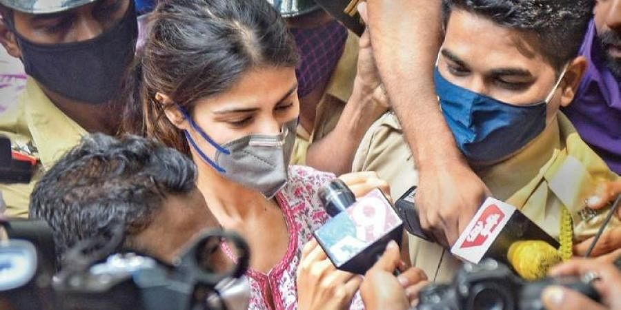 Rhea Chakraborty outside NCB office. (Photo   PTI)