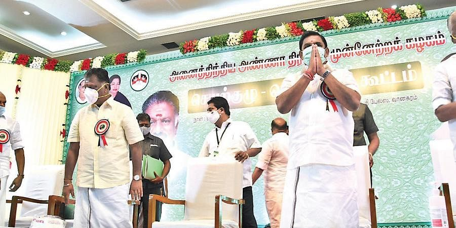 Chief Minister Edappadi K Palaniswami and Deputy Chief Minister O Panneerselvam greeting Aiadmk functionaries at the general council meeting at Vanagaram in Chennai on Saturday | Ashwin Prasath
