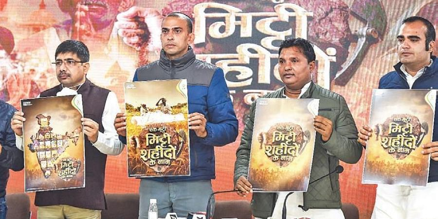 IYC leaders launch 'Ek Mutthi Mitti Shaheedon Ke Naam' campaign.