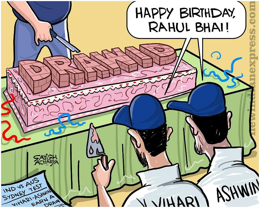 Rahul Dravid turned 48 on Monday. And he had a surprise 'gift' delivered all the way from Sydney as Hanuma Vihari and R Ashwin did their best to impersonate The Wall.