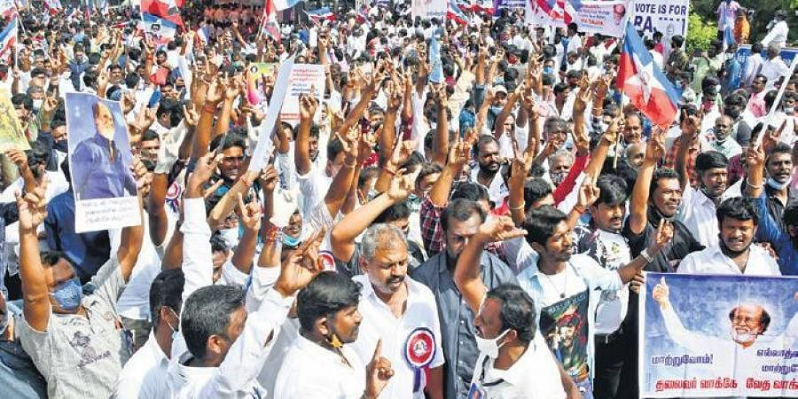 Rajini fans gather at Valluvar Kottam on Sunday to request the actor to rethink his decision and join electoral politics. (Photo   P Jawahar, EPS)