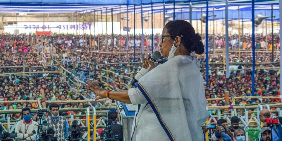 West Bengal Chief Minister Mamata Banerjee at a public rally. (Photo| PTI)