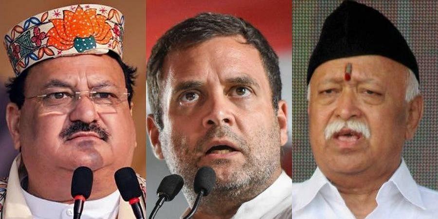 (L-R) BJP national president JP Nadda, Congress leader Rahul Gandhi and RSS chief Mohan Bhagwat (Photos   PTI)