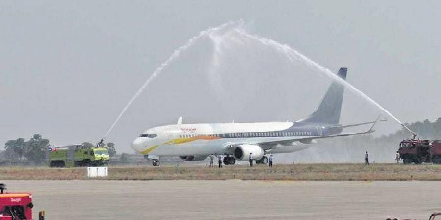 The new flight being accorded water cannon salute at VSS airport | Express