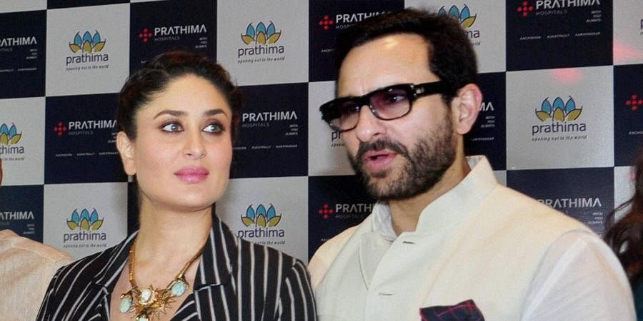 Bollywood actor Saif Ali Khan with his actress wife Kareena Kapoor.