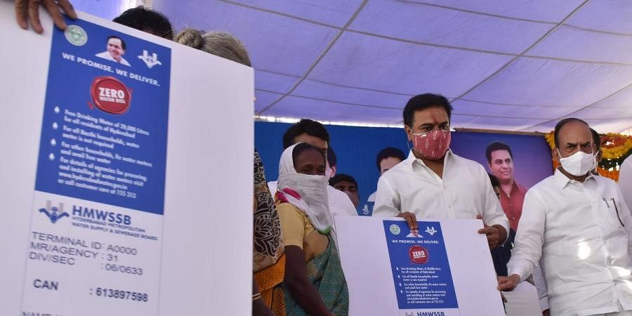 MAUD minister KT Rama Rao launched Free Drinking Water scheme of 20000 liters per month for Hyderabad citizens on Tuesday