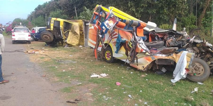 Mangled remains of the tempo which was travelling from Davanagere to Goa on Friday morning
