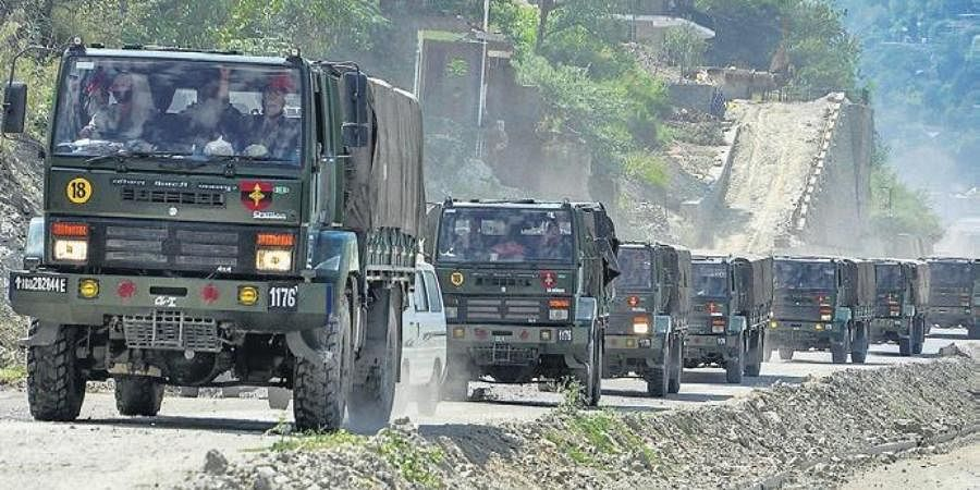 An Army convoy carrying military material on its way to Ladakh.