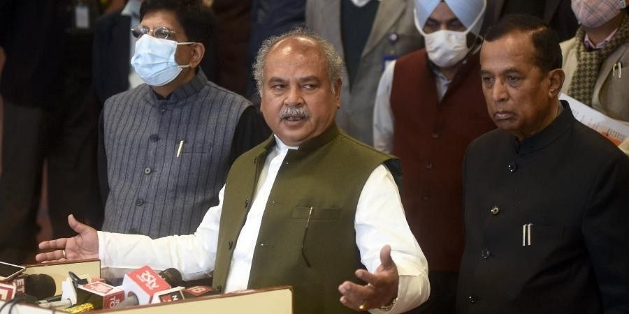 Agriculture Minister Narendra Singh Tomar addresses media after the ninth round of talks between the farmer leaders and the Centre at Vigyan Bhawan in New Delhi.