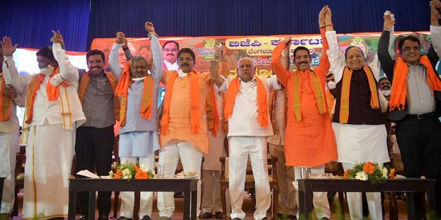 Chief Minister B S Yediyurappa and other top BJP party leaders at the BJP convention in Bengaluru. (Photo | Meghana Sastry, EPS)