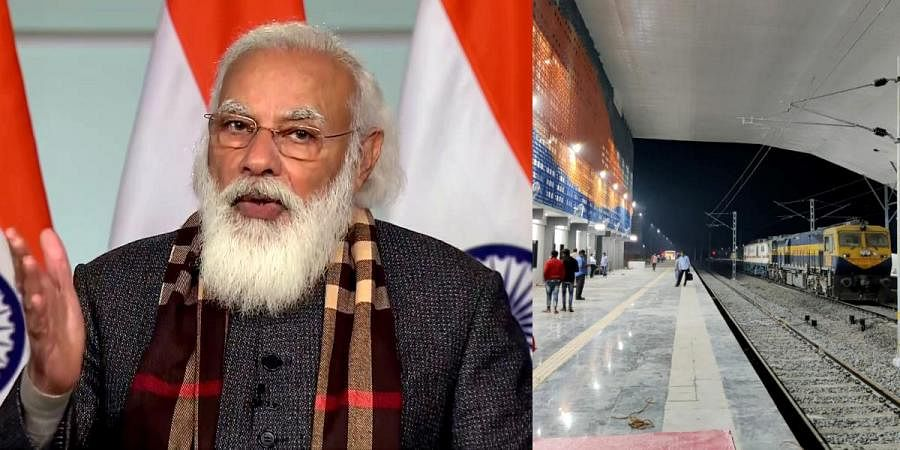 PM Narendra Modi (L) and a view of Kevadiya station