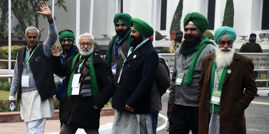Farmers delegation coming out after after the ninth round of talks between the farmer leaders and the Centre at Vigyan Bhawan in New Delhi.
