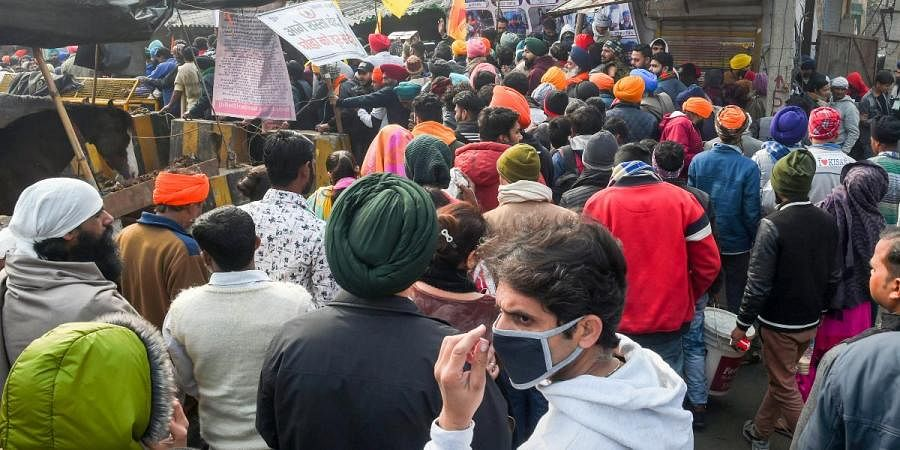 Farmers and their supporters during their ongoing agitation over the new farm laws in New Delhi