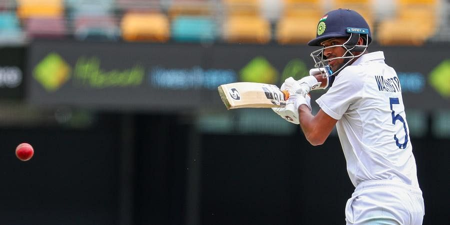 Washington Sundar bats during play on day three of the fourth Test between India and Australia at the Gabba.