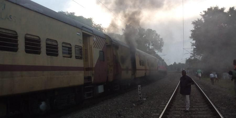 The incident was reported by 7.40 am and the loco pilots,guards immediately carried out preliminary fire fighting.