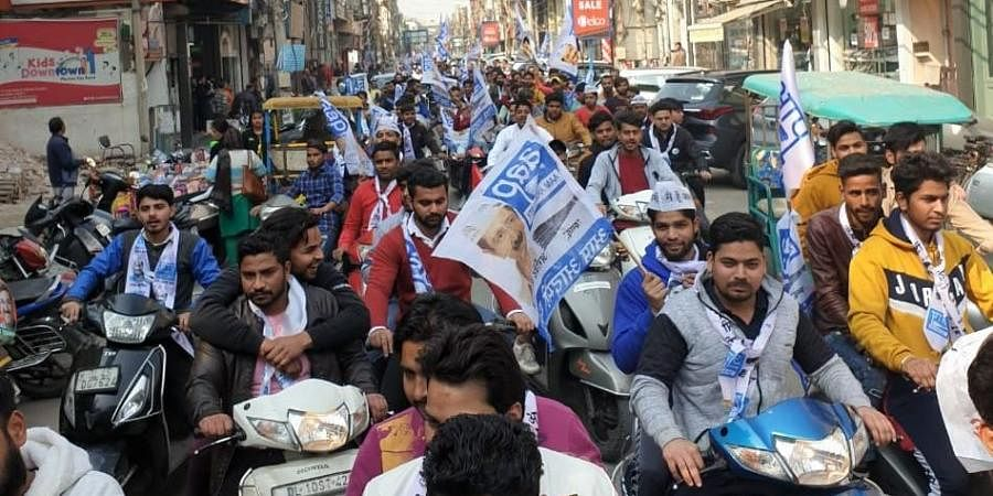 AAP supporters AAP flag (Photo | AAP Twitter)