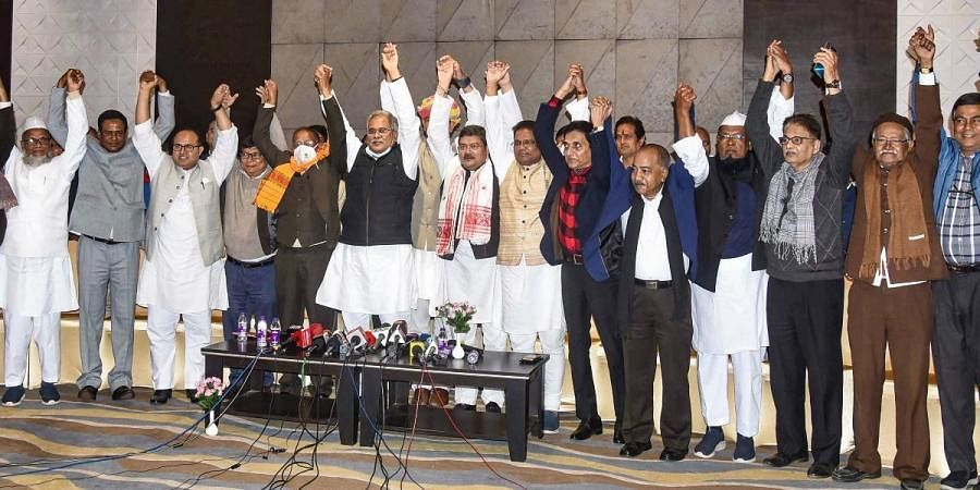 Chhattisgarh CM Bhupesh Baghel, AICC General Secretary Jitendra Singh and AICC President Ripun Borah and others during a press conference on upcoming election, in Guwahati, Tuesday.
