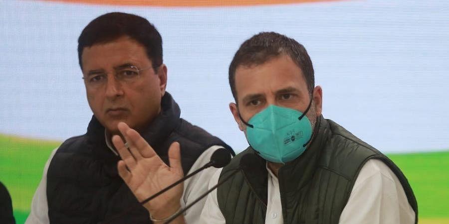 Congress leader Rahul Gandhi at a press conference in Delhi. (Photo| EPS/ Shekhar Yadav)