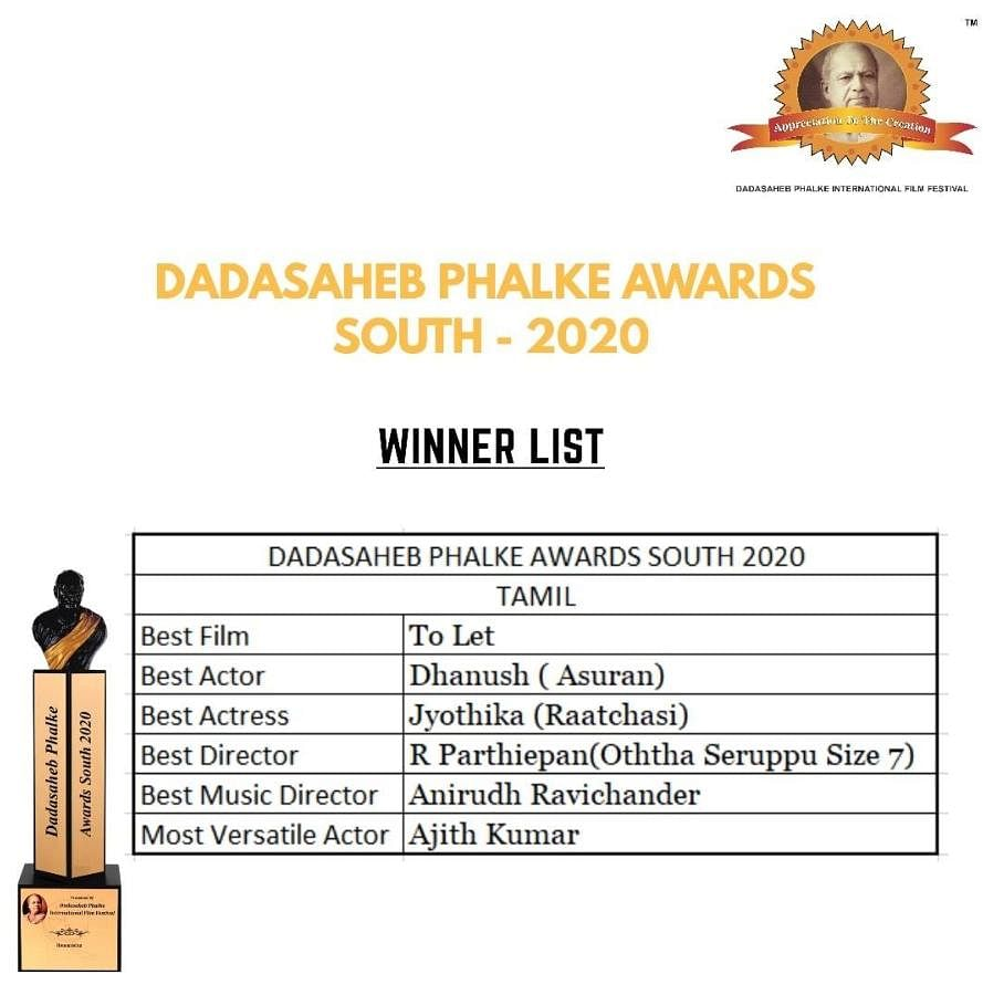 Dadasaheb Phalke Awards South 2020 Winners: Tamil List