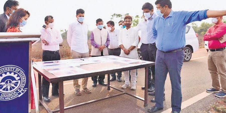 The team of officials discussing the stadium plan on BPUT campus on Tuesday