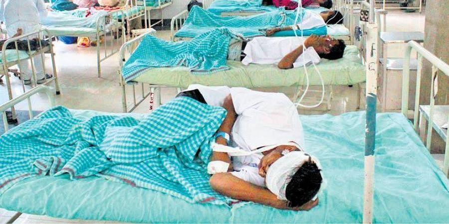 Injured labourers admitted to a hospital in Surat on Tuesday.