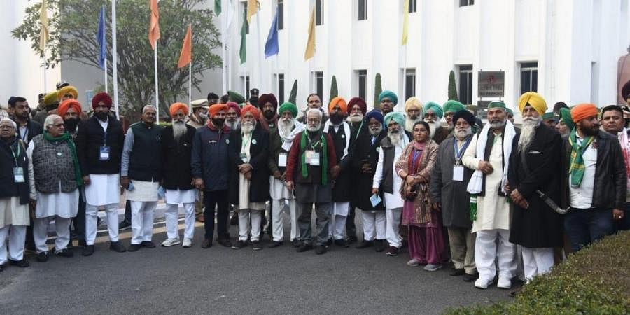 Farmers delegation coming out after the meeting with Union Agricultural minister Narendra singh Tomar at Vigyan bhawan in New Delhi