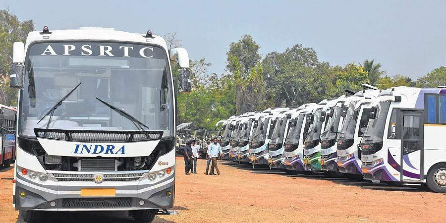 APSRTC buses lined up.