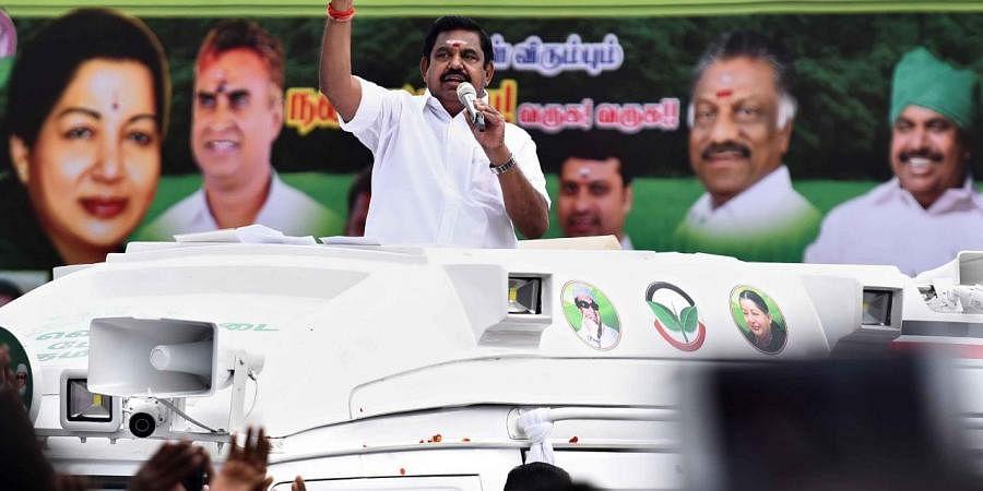 Tamil Nadu chief minister Edappadi K Palaniswami during his upcoming assembly election campaign at Selvapuram junction in Coimbatore. (Photo   A Raja Chidambaram, EPS)