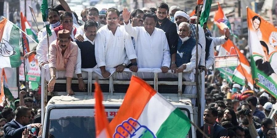 State Congress President Kamal Nath during a protest rally against the new farm laws, in Bhopal.