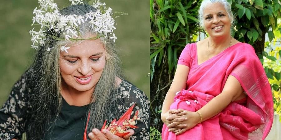 Actress Rajini Chandy (L) with a new look  and on the right without any makeover.