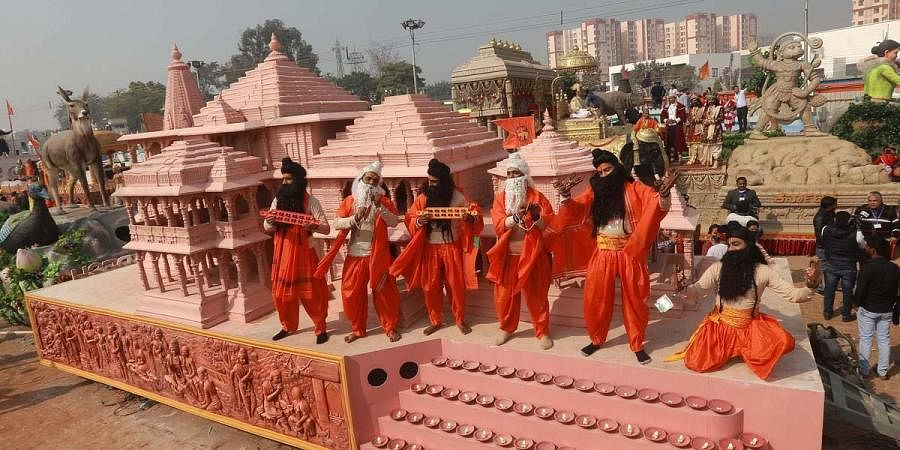 UP's tableau featuring the proposed Ram temple in Ayodhya. (Photo | Shekhar Yadav, EPS)