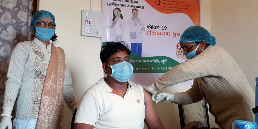 The front line workers of Aanganbari Sevika of the rural area being given the Covid-19 vaccines by the health department at Referal hospital, in Ranchi