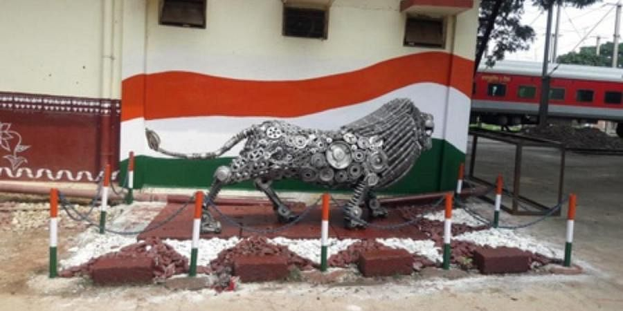 A 'Make in India' lion made from metal springs