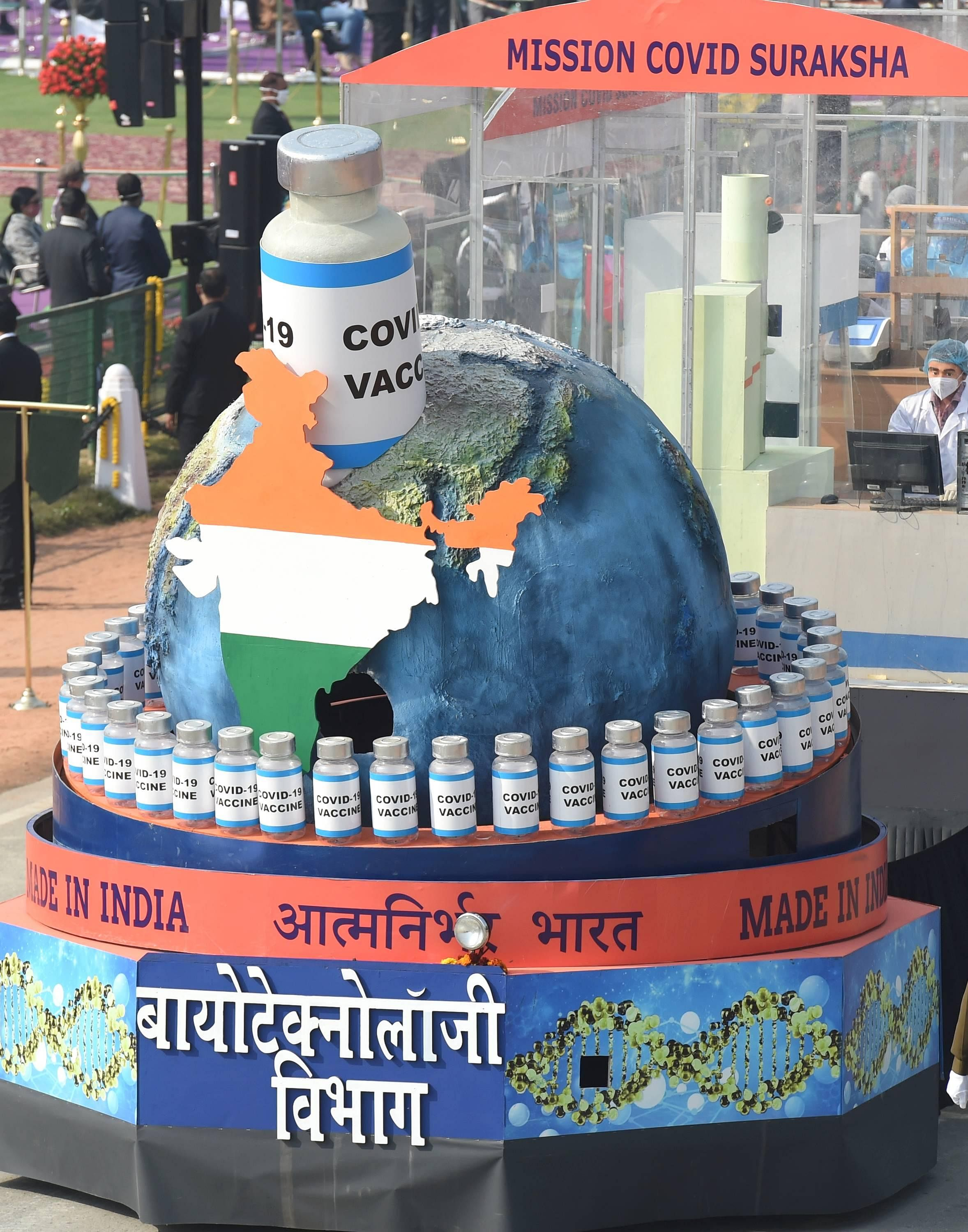 Tableaux of government Biotechnology department showing COVID-19 Vaccine passes through Rajpath during the 72nd Republic Day celebrations, in New Delhi.