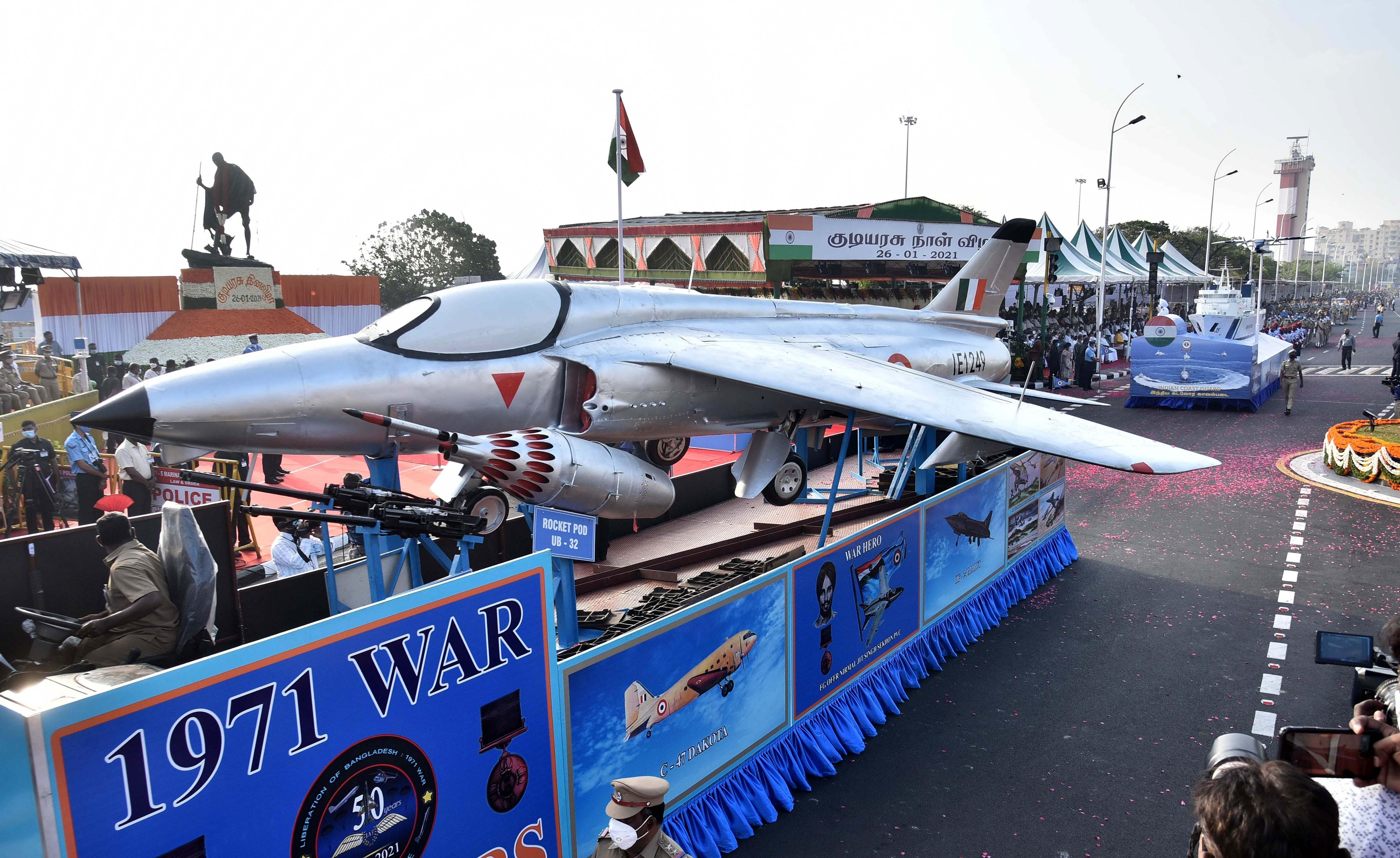The floats of the respective government departments took part in the republic day celebrations' held in Chennai.