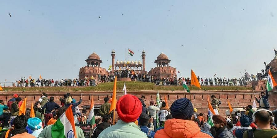 Farmers gather at Red Fort during their tractor parade on Republic Day, in New Delhi