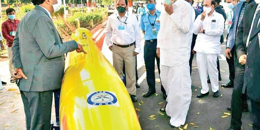 Vice-President M Venkaiah Naidu is shown a model of a missile at the Dr APJ Abdul Kalam Missile Complex in Hyderabad on Monday