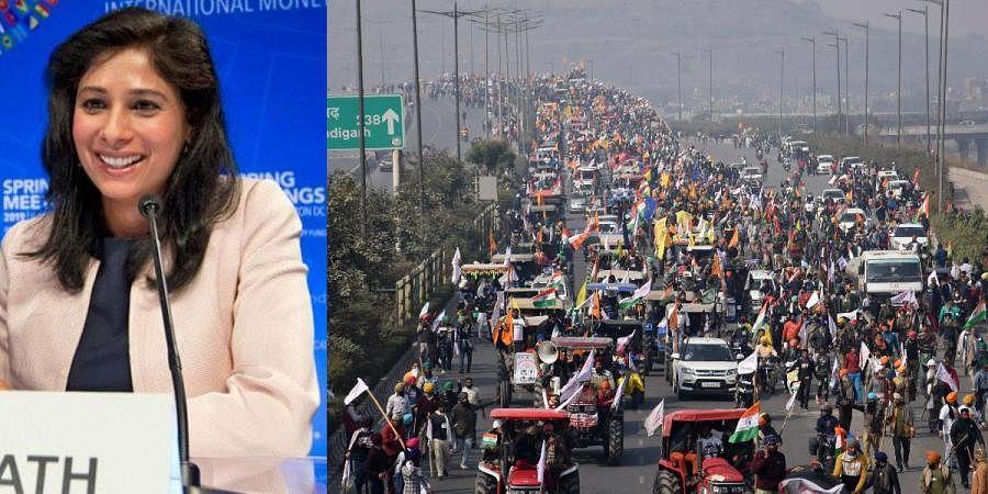IMF's Chief Economist Gita Gopinath (L) and farmers participating in a protest during Republic Day celebrations in New Delhi