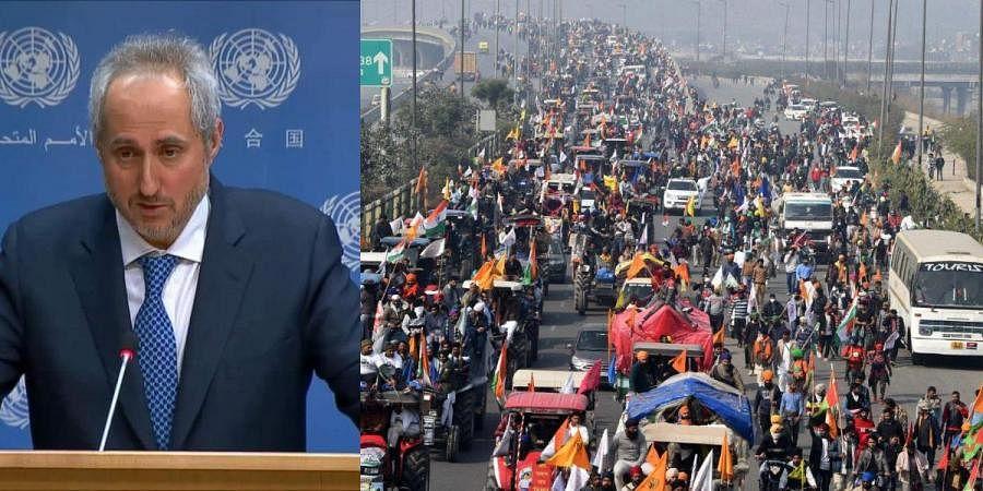 UN Secretary-General Antonio Guterres' spokesman Stephane Dujarric (L) and a scene from farmers protests in Delhi