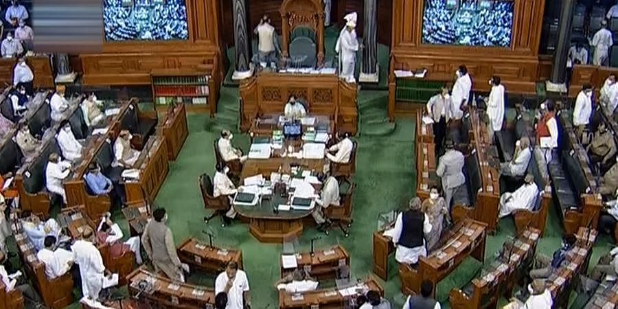 Parliamentarians in Lok Sabha during the ongoing Monsoon Session of Parliament in New Delhi.