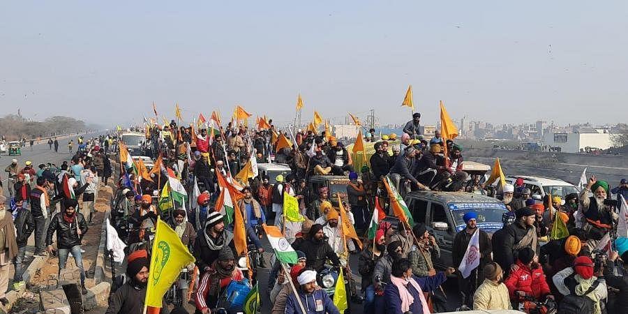 Massive tractor parade by Protesting farmers in Delhi during Republic Day in Tikri border New Delhi.