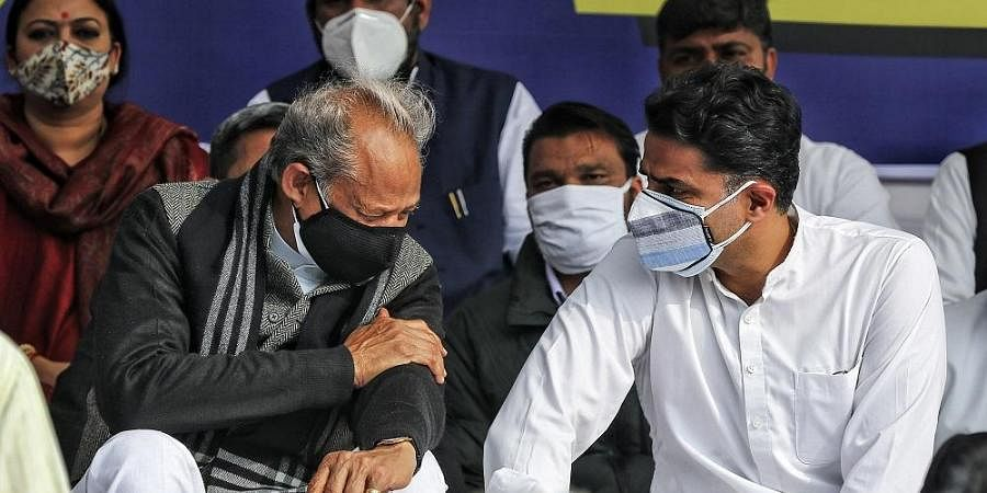 Rajasthan Chief Minister Ashok Gehlot with senior Congress leader Sachin Pilot during a protest against the Centre's new farm laws.