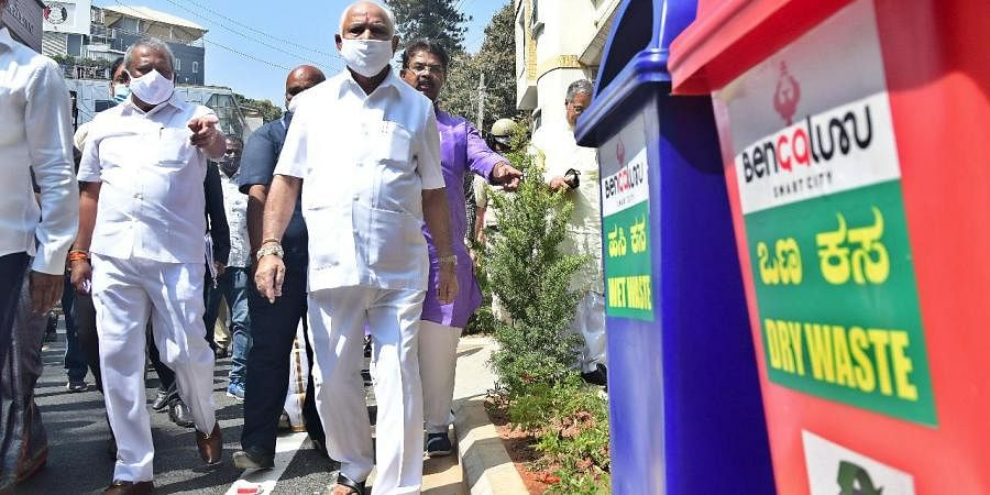 Karnataka CM Yediyurappa inspected Smart City projects in the central business district of Bengaluru. (Photo | Ashishkrishna HP, EPS)