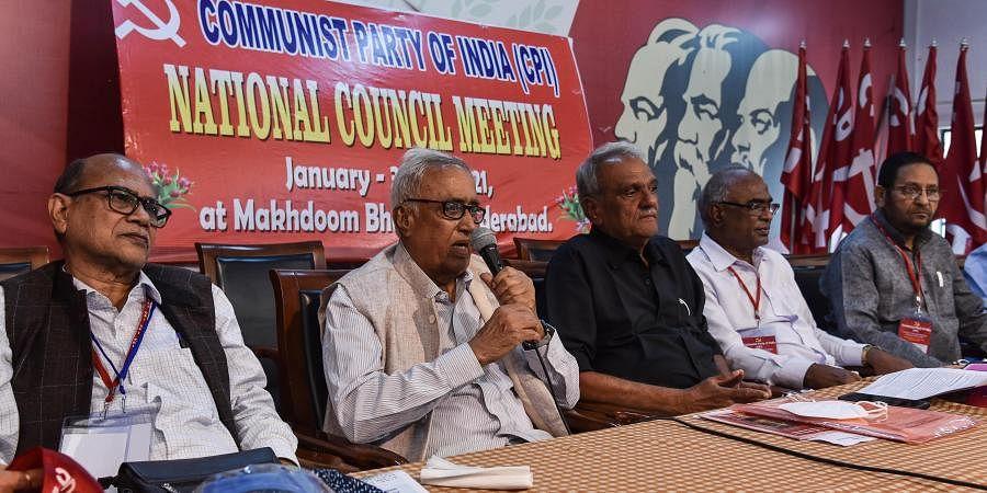 CPI former general secretary Suravaram Sudhakar Reddy addressing CPI national council meeting at Makhdoom Bhawan on Saturday. (Photo | Vinay Madapu, EPS)