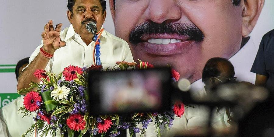 Tamil Nadu CM Edappadi K Palaniswami addressing the media in Tiruchy. (Photo | M K Ashok Kumar, EPS)