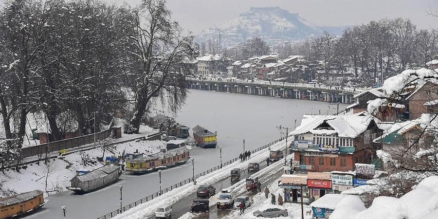 An aerial view of the city after a snowfall in Srinagar